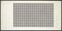 Great Britain: 1912-24 1d in a black proof sheet of 200 (20x10) for coils.